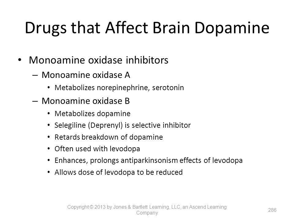 Monoamine oxidase inhibitors – Monoamine oxidase A Metabolizes norepinephrine, serotonin – Monoamine oxidase B Metabolizes dopamine Selegiline (Depren