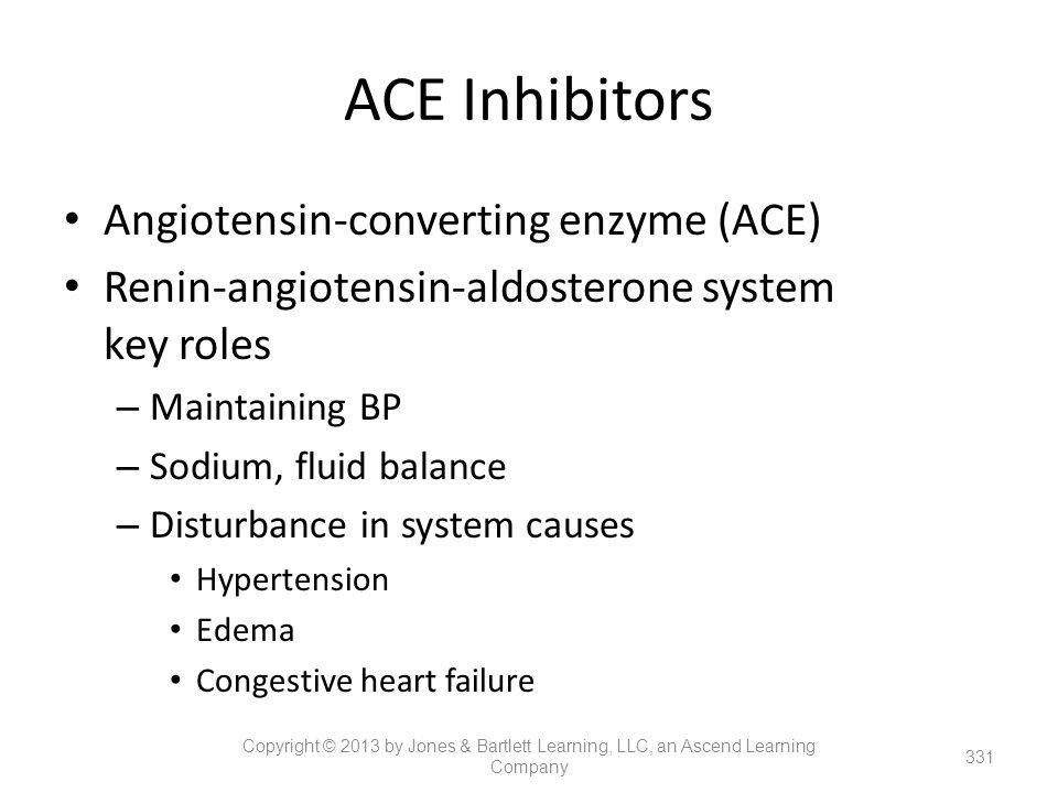 ACE Inhibitors Angiotensin-converting enzyme (ACE) Renin-angiotensin-aldosterone system key roles – Maintaining BP – Sodium, fluid balance – Disturban