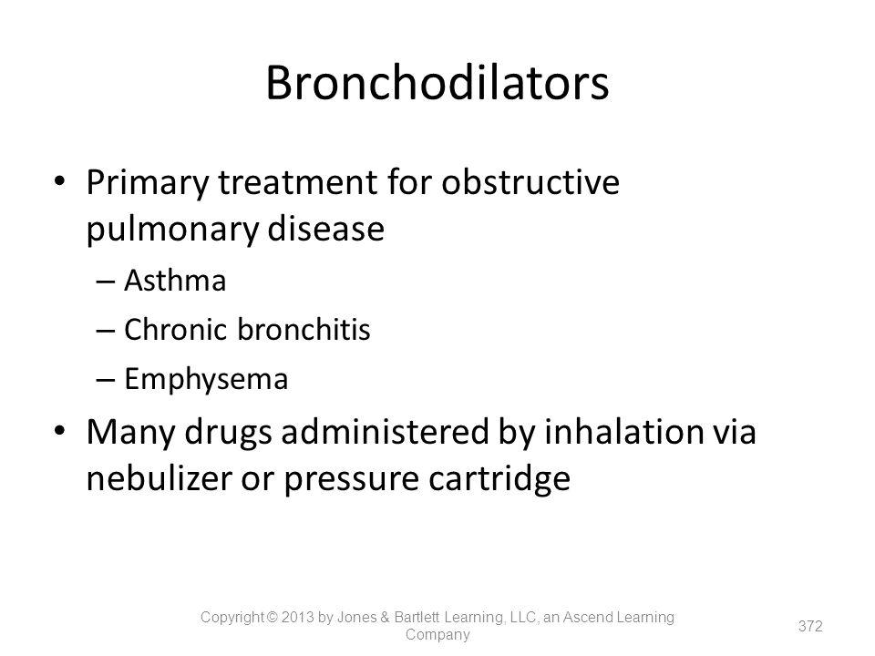 Bronchodilators Primary treatment for obstructive pulmonary disease – Asthma – Chronic bronchitis – Emphysema Many drugs administered by inhalation vi