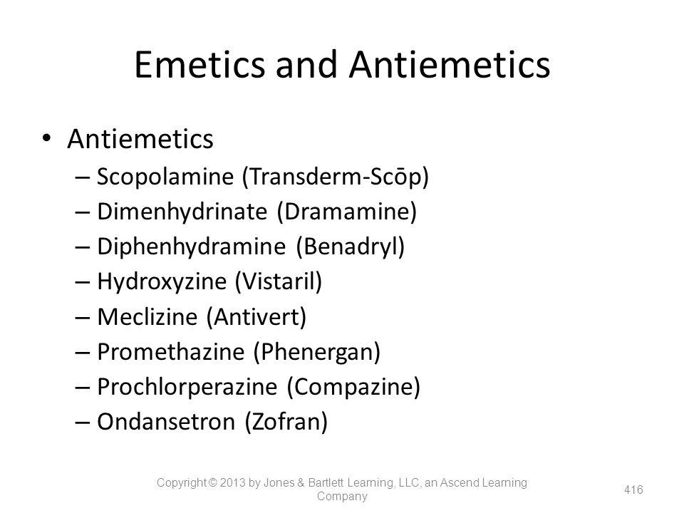 Emetics and Antiemetics Antiemetics – Scopolamine (Transderm-Scōp) – Dimenhydrinate (Dramamine) – Diphenhydramine (Benadryl) – Hydroxyzine (Vistaril)