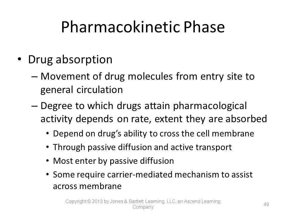 Pharmacokinetic Phase Drug absorption – Movement of drug molecules from entry site to general circulation – Degree to which drugs attain pharmacologic