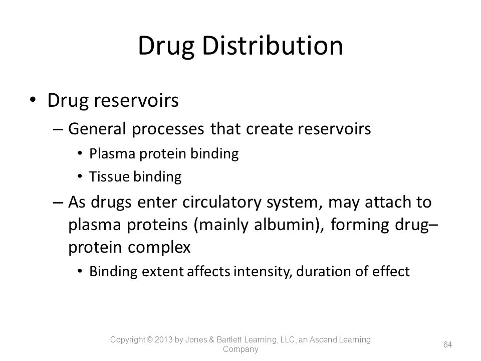 Drug Distribution Drug reservoirs – General processes that create reservoirs Plasma protein binding Tissue binding – As drugs enter circulatory system