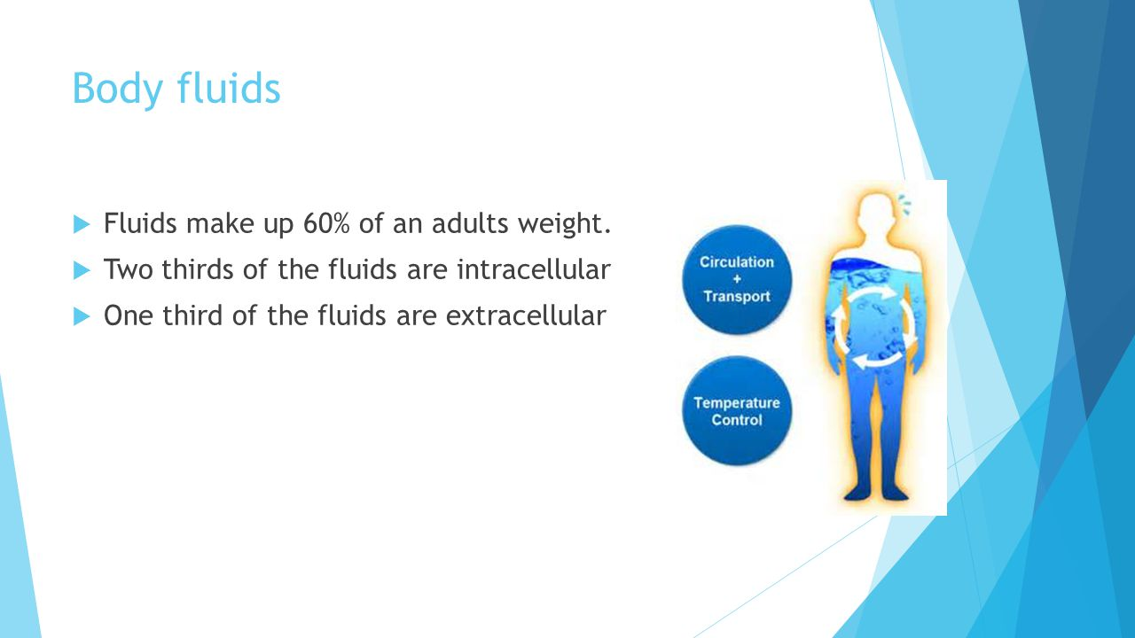 Body fluids  Fluids make up 60% of an adults weight.  Two thirds of the fluids are intracellular  One third of the fluids are extracellular