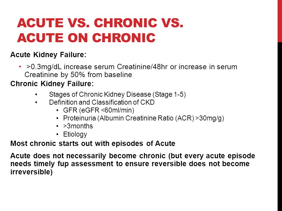 ACUTE VS. CHRONIC VS.