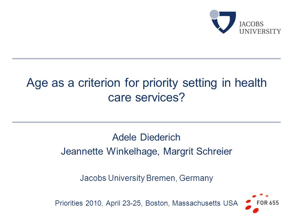 Age as a criterion for priority setting in health care services.