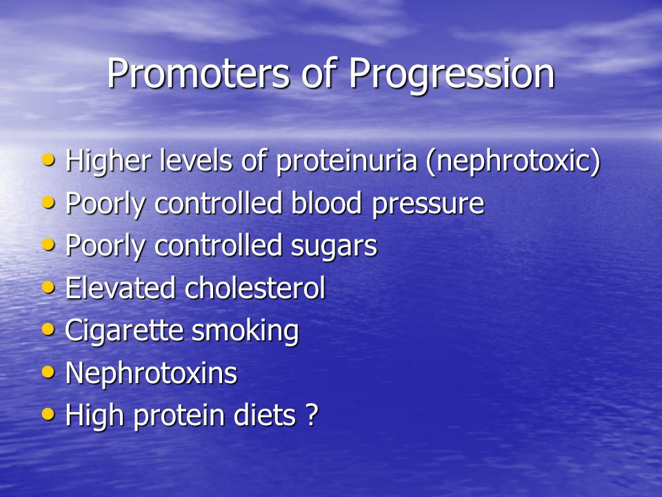 Promoters of Progression Higher levels of proteinuria (nephrotoxic) Higher levels of proteinuria (nephrotoxic) Poorly controlled blood pressure Poorly