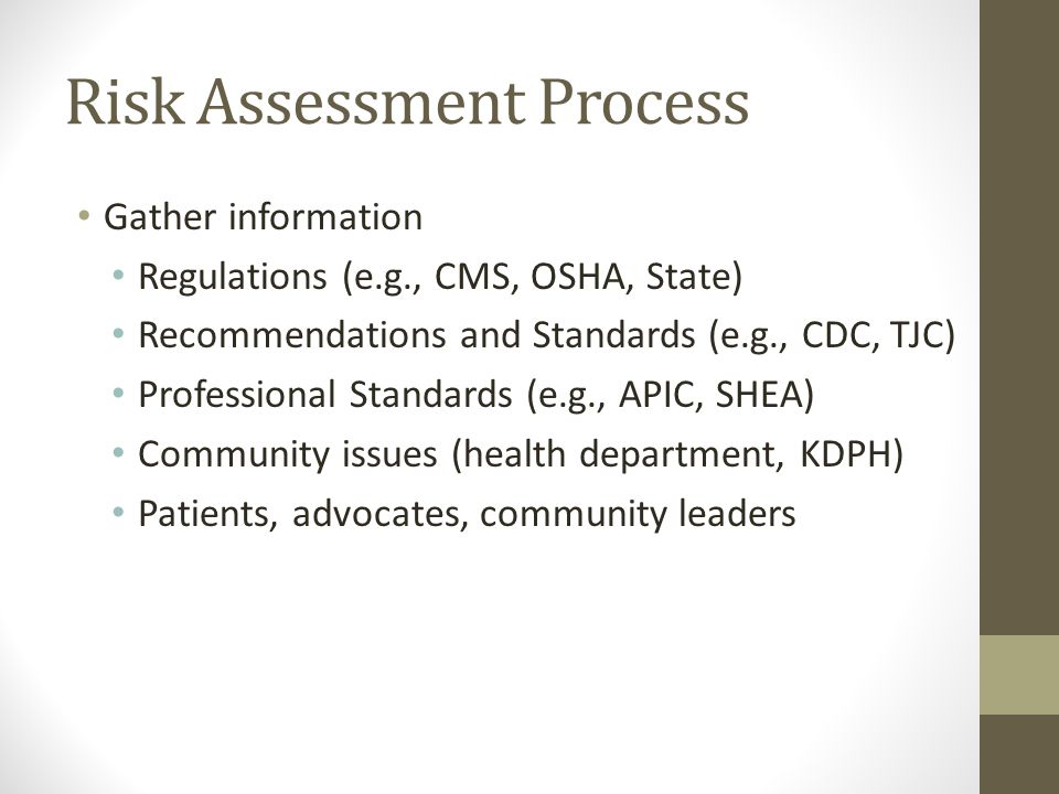 Risk Assessment Process Gather information Regulations (e.g., CMS, OSHA, State) Recommendations and Standards (e.g., CDC, TJC) Professional Standards (e.g., APIC, SHEA) Community issues (health department, KDPH) Patients, advocates, community leaders