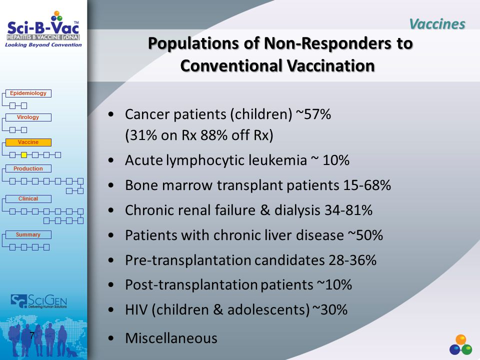 Populations of Non-Responders to Conventional Vaccination Cancer patients (children) ~57% (31% on Rx 88% off Rx) Acute lymphocytic leukemia ~ 10% Bone marrow transplant patients 15-68% Chronic renal failure & dialysis 34-81% Patients with chronic liver disease ~50% Pre-transplantation candidates 28-36% Post-transplantation patients ~10% HIV (children & adolescents) ~30% Miscellaneous Vaccines Epidemiology Virology Vaccine Production Clinical Summary 7