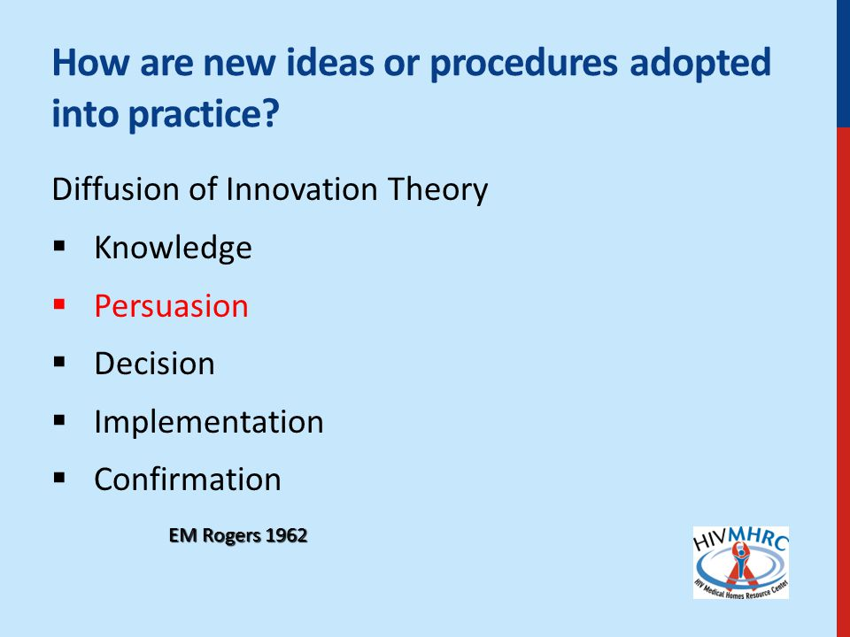 How are new ideas or procedures adopted into practice.