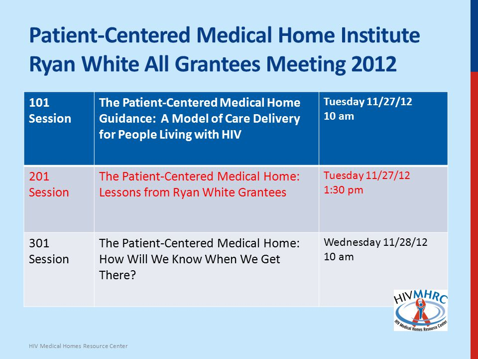 Patient-Centered Medical Home Institute Ryan White All Grantees Meeting 2012 101 Session The Patient-Centered Medical Home Guidance: A Model of Care Delivery for People Living with HIV Tuesday 11/27/12 10 am 201 Session The Patient-Centered Medical Home: Lessons from Ryan White Grantees Tuesday 11/27/12 1:30 pm 301 Session The Patient-Centered Medical Home: How Will We Know When We Get There.