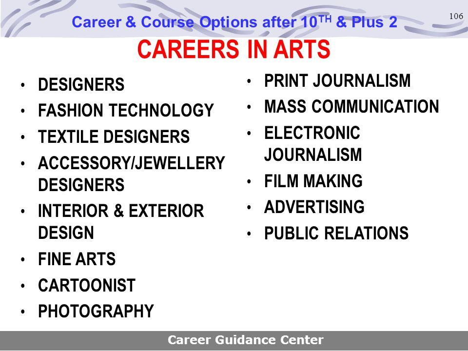 106 CAREERS IN ARTS DESIGNERS FASHION TECHNOLOGY TEXTILE DESIGNERS ACCESSORY/JEWELLERY DESIGNERS INTERIOR & EXTERIOR DESIGN FINE ARTS CARTOONIST PHOTO