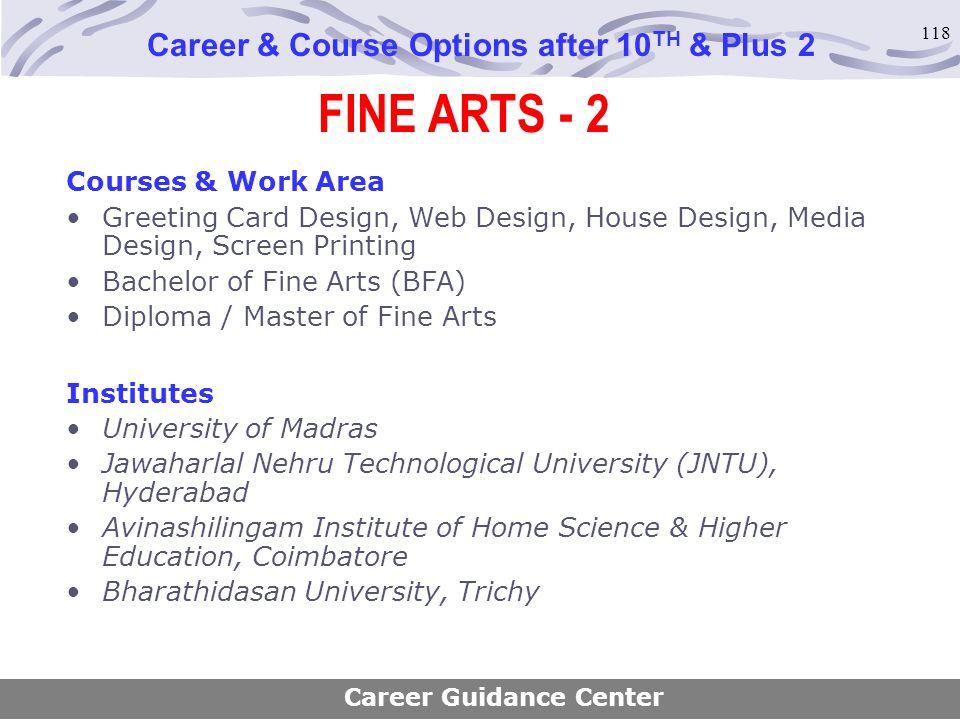 118 FINE ARTS - 2 Career & Course Options after 10 TH & Plus 2 Courses & Work Area Greeting Card Design, Web Design, House Design, Media Design, Scree