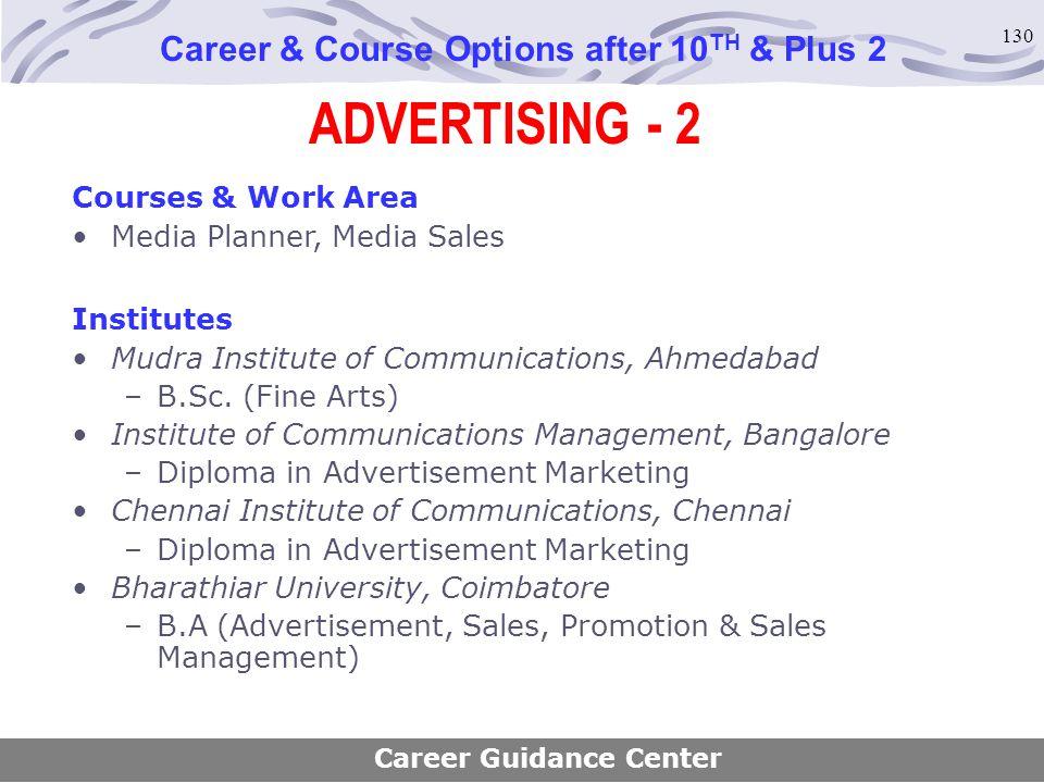 130 ADVERTISING - 2 Career & Course Options after 10 TH & Plus 2 Courses & Work Area Media Planner, Media Sales Institutes Mudra Institute of Communic