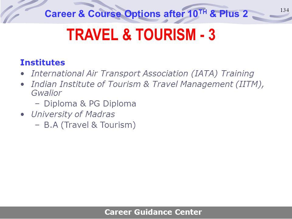 134 TRAVEL & TOURISM - 3 Career & Course Options after 10 TH & Plus 2 Institutes International Air Transport Association (IATA) Training Indian Instit