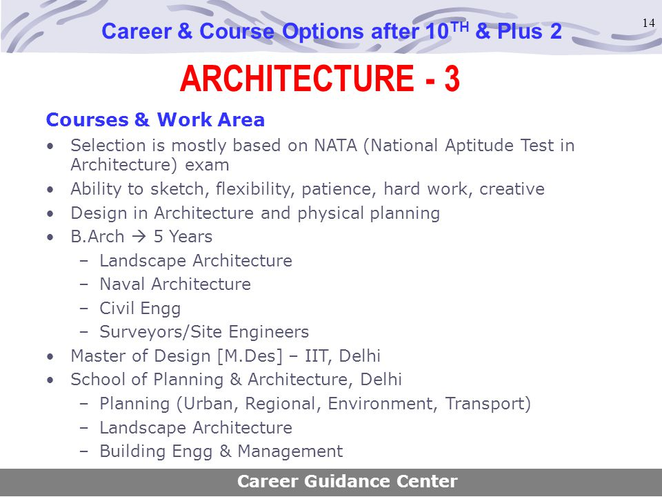 14 ARCHITECTURE - 3 Career & Course Options after 10 TH & Plus 2 Courses & Work Area Selection is mostly based on NATA (National Aptitude Test in Arch
