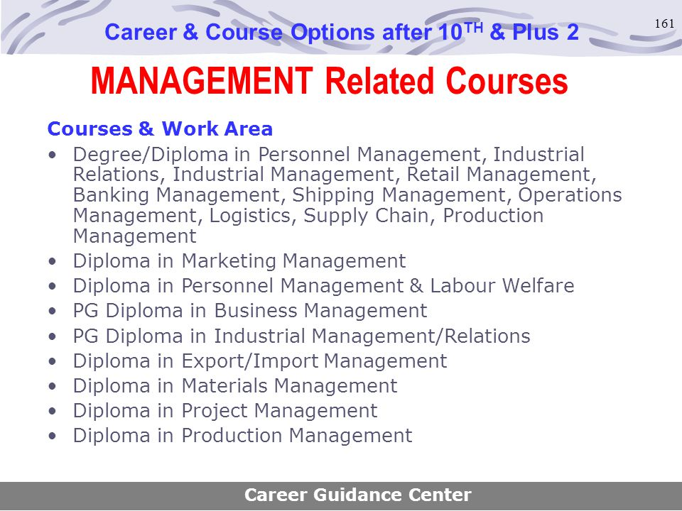 161 MANAGEMENT Related Courses Career & Course Options after 10 TH & Plus 2 Courses & Work Area Degree/Diploma in Personnel Management, Industrial Rel