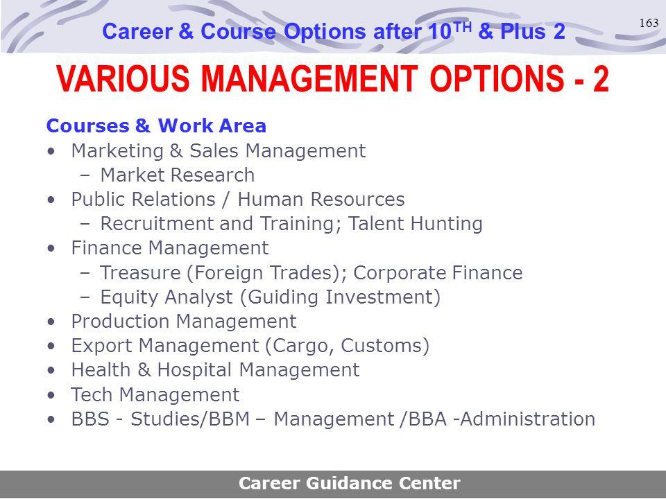 163 VARIOUS MANAGEMENT OPTIONS - 2 Career & Course Options after 10 TH & Plus 2 Courses & Work Area Marketing & Sales Management –Market Research Publ