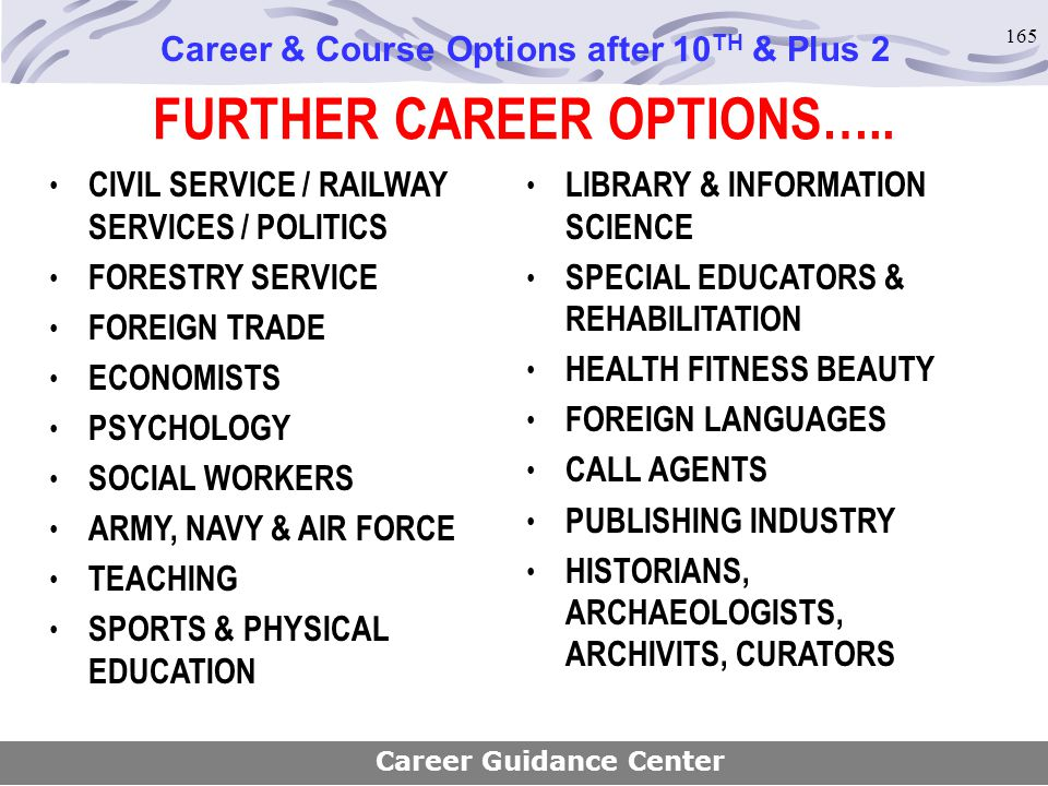 165 FURTHER CAREER OPTIONS….. CIVIL SERVICE / RAILWAY SERVICES / POLITICS FORESTRY SERVICE FOREIGN TRADE ECONOMISTS PSYCHOLOGY SOCIAL WORKERS ARMY, NA