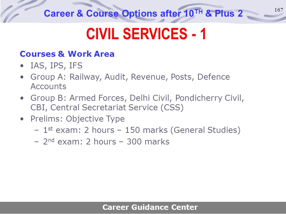 167 CIVIL SERVICES - 1 Career & Course Options after 10 TH & Plus 2 Courses & Work Area IAS, IPS, IFS Group A: Railway, Audit, Revenue, Posts, Defence