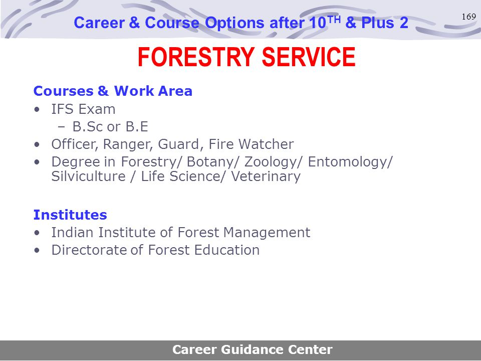 169 FORESTRY SERVICE Career & Course Options after 10 TH & Plus 2 Courses & Work Area IFS Exam –B.Sc or B.E Officer, Ranger, Guard, Fire Watcher Degre