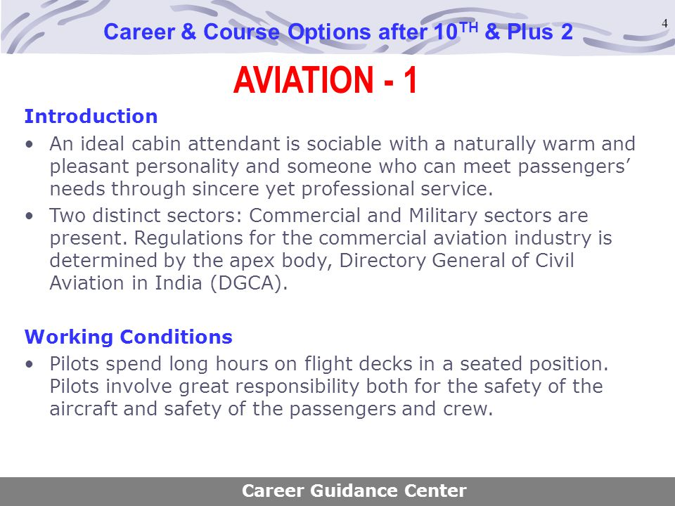 4 AVIATION - 1 Career & Course Options after 10 TH & Plus 2 Introduction An ideal cabin attendant is sociable with a naturally warm and pleasant perso