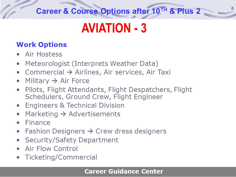 6 AVIATION - 3 Career & Course Options after 10 TH & Plus 2 Work Options Air Hostess Meteorologist (Interprets Weather Data) Commercial  Airlines, Ai