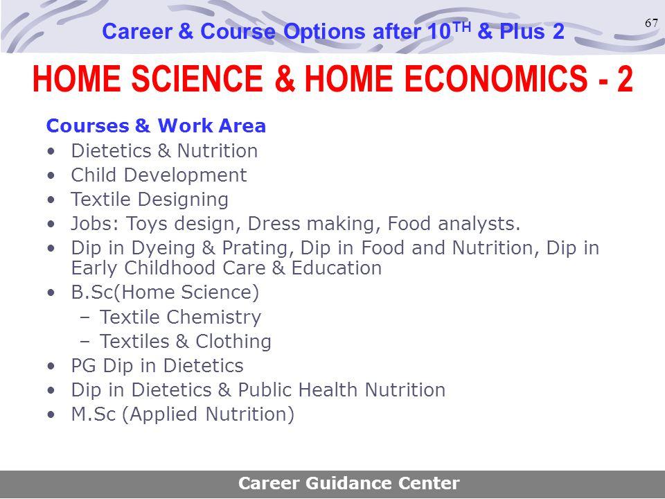 67 Career & Course Options after 10 TH & Plus 2 Courses & Work Area Dietetics & Nutrition Child Development Textile Designing Jobs: Toys design, Dress