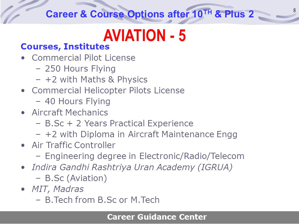 8 AVIATION - 5 Career & Course Options after 10 TH & Plus 2 Courses, Institutes Commercial Pilot License –250 Hours Flying –+2 with Maths & Physics Co