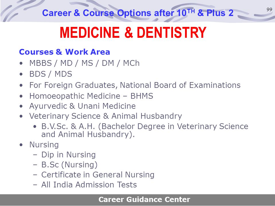 99 MEDICINE & DENTISTRY Career & Course Options after 10 TH & Plus 2 Courses & Work Area MBBS / MD / MS / DM / MCh BDS / MDS For Foreign Graduates, Na