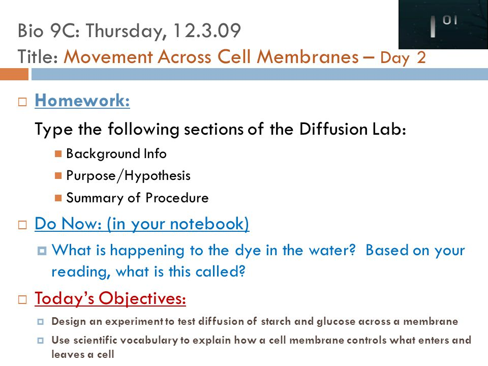  Homework: Type the following sections of the Diffusion Lab: Background Info Purpose/Hypothesis Summary of Procedure  Do Now: (in your notebook)  What is happening to the dye in the water.