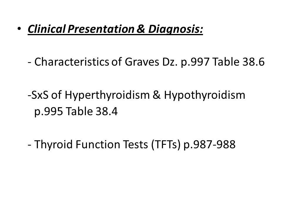 Clinical Presentation & Diagnosis: - Characteristics of Graves Dz. p.997 Table 38.6 -SxS of Hyperthyroidism & Hypothyroidism p.995 Table 38.4 - Thyroi
