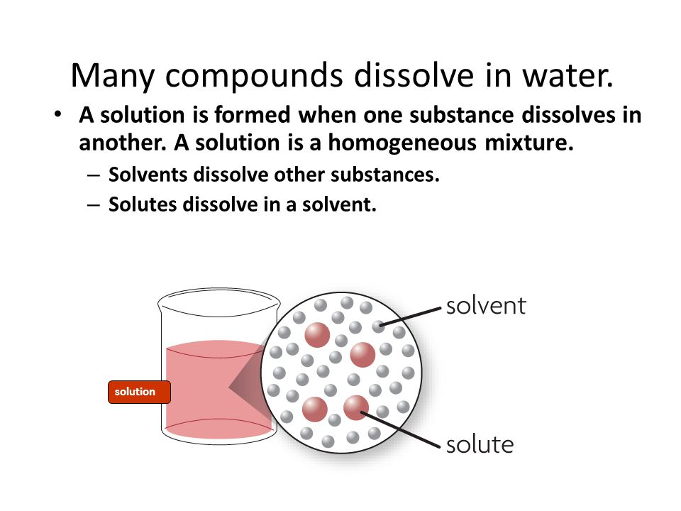 Many compounds dissolve in water. A solution is formed when one substance dissolves in another. A solution is a homogeneous mixture. – Solvents dissol