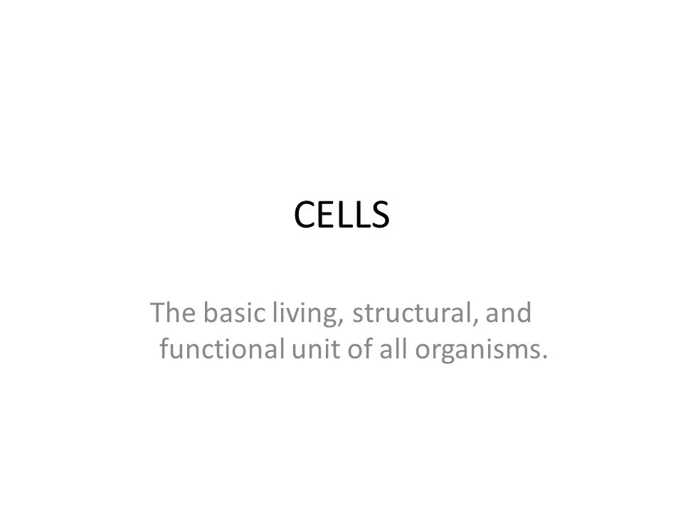CELLS The basic living, structural, and functional unit of all organisms.