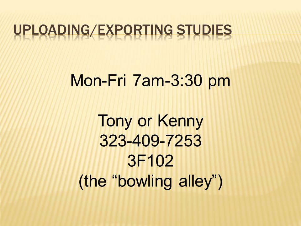 "Mon-Fri 7am-3:30 pm Tony or Kenny 323-409-7253 3F102 (the ""bowling alley"")"