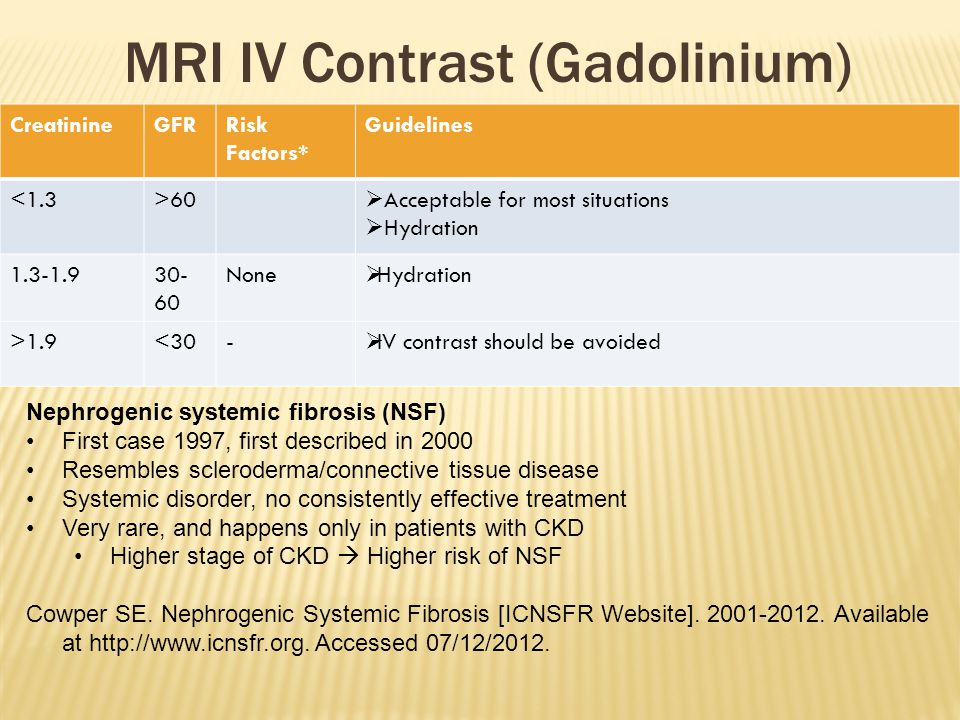 CreatinineGFRRisk Factors* Guidelines <1.3>60  Acceptable for most situations  Hydration 1.3-1.930- 60 None  Hydration >1.9<30-  IV contrast shoul