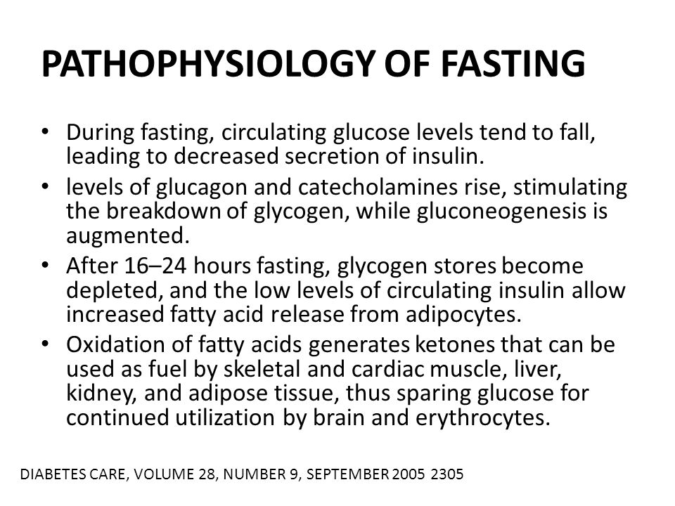 PATHOPHYSIOLOGY OF FASTING During fasting, circulating glucose levels tend to fall, leading to decreased secretion of insulin. levels of glucagon and