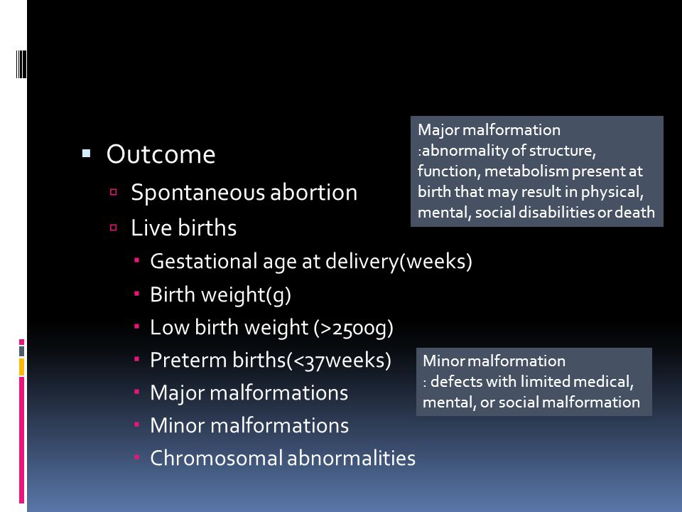  Outcome  Spontaneous abortion  Live births  Gestational age at delivery(weeks)  Birth weight(g)  Low birth weight (>2500g)  Preterm births(<37