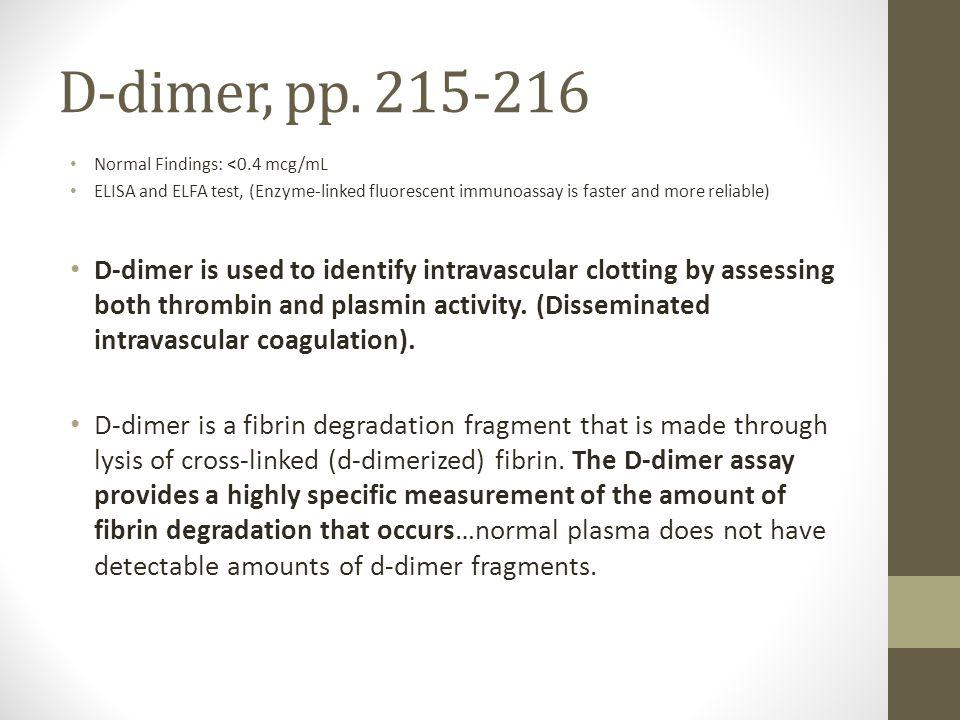 D-dimer, pp.