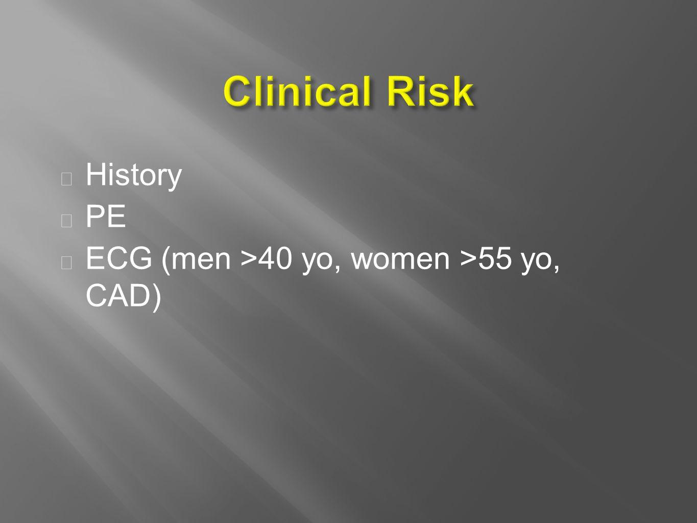  History  PE  ECG (men >40 yo, women >55 yo, CAD)