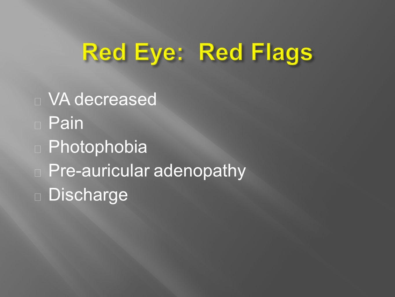  VA decreased  Pain  Photophobia  Pre-auricular adenopathy  Discharge
