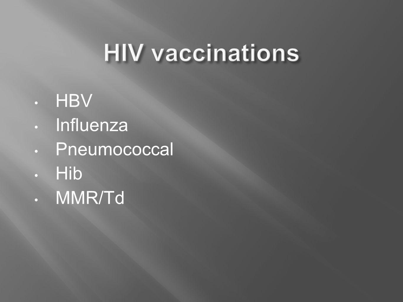 HBV Influenza Pneumococcal Hib MMR/Td