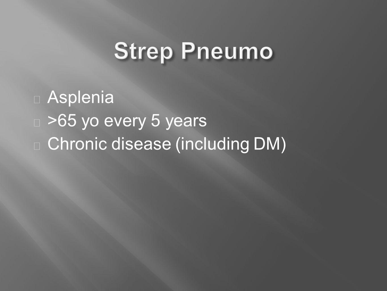  Asplenia  >65 yo every 5 years  Chronic disease (including DM)