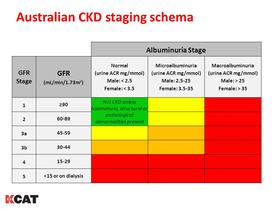 Australian CKD staging schema Albuminuria Stage GFR Stage GFR (mL/min/1.73m 2 ) Normal (urine ACR mg/mmol) Male: < 2.5 Female: < 3.5 Microalbuminuria (urine ACR mg/mmol) Male: 2.5-25 Female: 3.5-35 Macroalbuminuria (urine ACR mg/mmol) Male: > 25 Female: > 35 1 ≥90 Not CKD unless haematuria, structural or pathological abnormalities present 2 60-89 3a 45-59 3b 30-44 4 15-29 5 <15 or on dialysis
