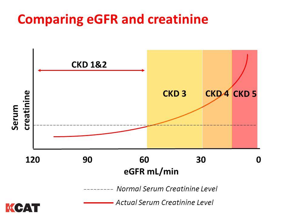 Comparing eGFR and creatinine CKD 1&2 CKD 5 CKD 4 CKD 3 eGFR mL/min 1209060300 Serum creatinine Normal Serum Creatinine Level Actual Serum Creatinine