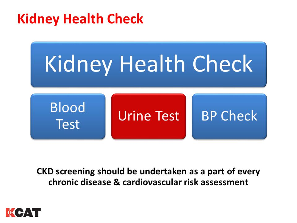 Kidney Health Check Blood Test Urine TestBP Check CKD screening should be undertaken as a part of every chronic disease & cardiovascular risk assessment