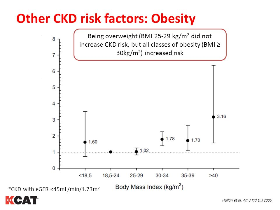 Other CKD risk factors: Obesity Hallan et al, Am J Kid Dis 2006 Being overweight (BMI 25-29 kg/m 2 did not increase CKD risk, but all classes of obesity (BMI ≥ 30kg/m 2 ) increased risk *CKD with eGFR <45mL/min/1.73m 2