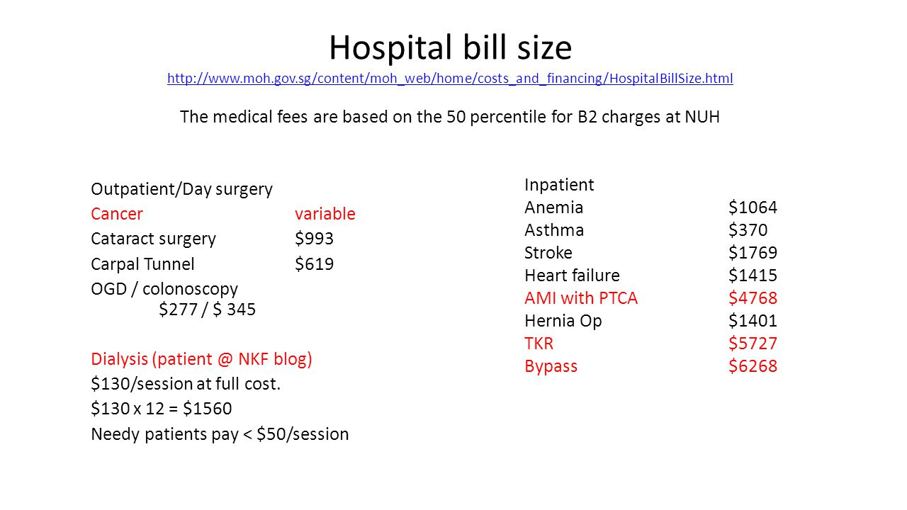 Hospital bill size http://www.moh.gov.sg/content/moh_web/home/costs_and_financing/HospitalBillSize.html The medical fees are based on the 50 percentile for B2 charges at NUH http://www.moh.gov.sg/content/moh_web/home/costs_and_financing/HospitalBillSize.html Outpatient/Day surgery Cancervariable Cataract surgery$993 Carpal Tunnel$619 OGD / colonoscopy $277 / $ 345 Dialysis (patient @ NKF blog) $130/session at full cost.