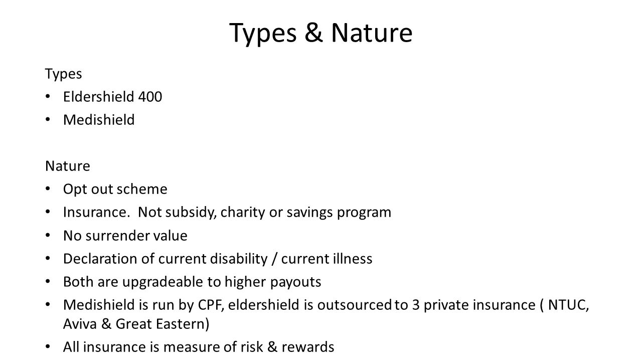 Types & Nature Types Eldershield 400 Medishield Nature Opt out scheme Insurance.