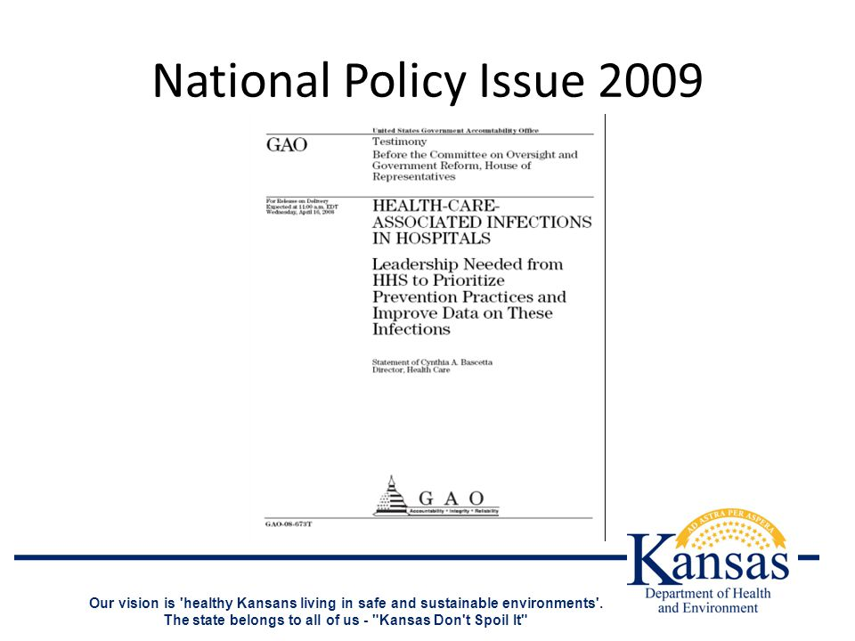 National Policy Issue 2009 Our vision is healthy Kansans living in safe and sustainable environments .