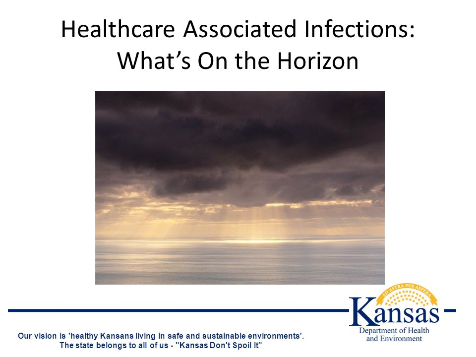 Healthcare Associated Infections: What's On the Horizon Our vision is healthy Kansans living in safe and sustainable environments .